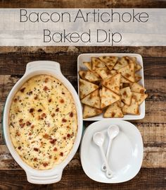 This Bacon Artichoke Baked Dip recipe, served with Town House Pita Crackers, is the perfect go-to appetizer when trying to please a crowd! Finger Food Appetizers, Yummy Appetizers, Appetizer Recipes, Snack Recipes, Cooking Recipes, Snacks, Finger Foods, Party Appetizers, What's Cooking