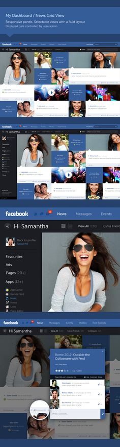 #Facebook - New Look & Concept by Fred Nerby, via #Behance #Webdesign