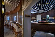 TYO Japanese restaurant by Studio Yaron Tal, Tel Aviv – Israel Visual Merchandising, Tel Aviv Israel, Food Court, Asymmetrical Design, Design Furniture, Restaurant Design, Stores, Japanese, Interior Design