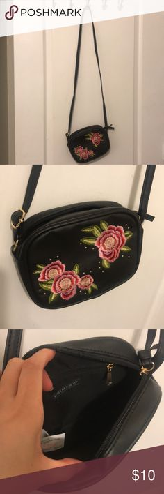 3e765067992 Primark small black crossbody with pink flower Black crossbody with pink  flower embroidered on the front Like new Primark Bags Crossbody Bags