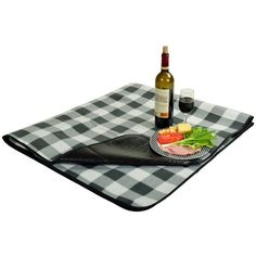 Picnic at Ascot Fleece Picnic Blanket With Tote Charcoal Plaid By ($17) ❤ liked on Polyvore featuring home, outdoors, sporting goods and picnic at ascot