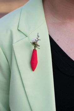 Gem Planter Lapel Pin in Red A Wearable Planter by wearableplanter,