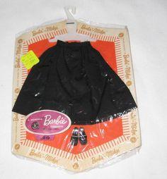 Vintage Mattel Barbie Fashion Black Gathered Skirt Pak MOC AH78