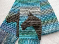 Horse Scarf. Aqua blue striped crochet scarf with gray by hooknsaw