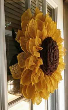 Sunflower Wreath, Sunflower Wreath For Front Door, Yellow Burlap Sunflower Wreath, Fall Wreath, Sunflower Wreath For Front Door Burlap Fall Wreaths, Mesh Wreaths, Christmas Wreaths, Christmas Decorations, Tulle Wreath, Burlap Wreath, Wreath Crafts, Flower Crafts, Fabric Flowers