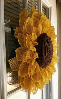 Sunflower wreath burlap