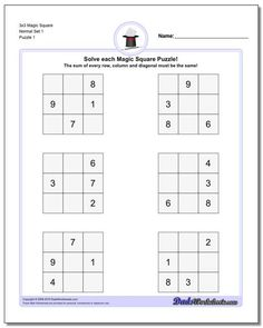 magic squares are the easiest form of magic square puzzle and can be solved quickly by beginning math students. Try these printable puzzle pages and check the site out for more! 3rd Grade Math Worksheets, Spelling Worksheets, Free Kindergarten Worksheets, Worksheets For Kids, Map Activities, Magic Squares, Printable Puzzles, Logic Puzzles, Interesting Topics