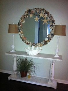 Seashell Mirror made from Wrightsville Beach NC Shells.