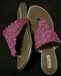 Rasteirinha c detalhe Crochet