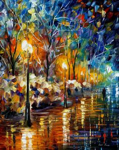 "The Warm Light of the Winter — PALETTE KNIFE Modern Oil Painting of Winter Park On Canvas By Leonid Afremov - Size: 30"" x 24"" (75cmx60cm)"