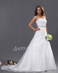 A-line Wedding Dresses Sweetheart Court Train Organza Satin Ivory 010010100333