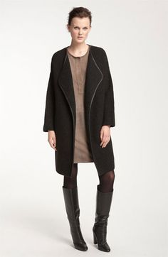 Vince Leather Trim Wool Coat, adore this.