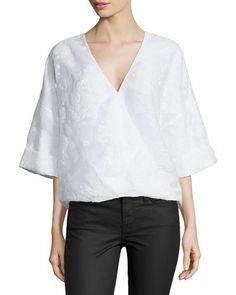 Prabal Gurung Wrap-Front Kimono-Sleeve Blouse, White New offer @@@ Price :$1379 Price Sale $965.25