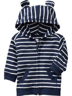 Striped Zip-Front Hoodies for Baby