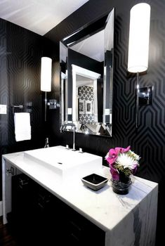 Oh wow! I think I love this Osborne & Little Minaret wallpaper almost as much as Kelly Wearstler's Imperial Trellis in Black Onyx...perhaps more. Love the hot pink. This is so glamourous and chic! Designed by Atmosphere Interior Design
