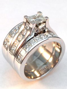 Modern Horizontal Emerald Cut diamond Engagement ring & Matching wedding ring Bridal Set