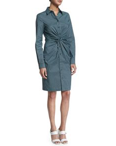 Long-Sleeve Twist-Front Shirtdress, Aqua/Multi by Michael Kors Collection at Neiman Marcus.