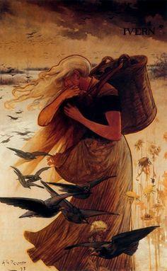 Alexandre de Riquer (Spanish, 1856-1920). The Four Seasons: Winter.