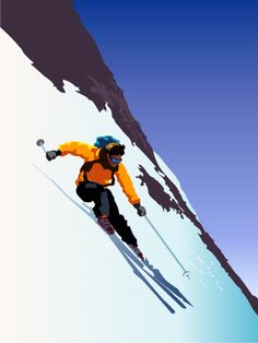 Downhill Skier Sports Art Print - 30 x 41 cm Joe Taylor, Ski, Sports Art, Sports Posters, Portfolio Images, Find Art, Framed Artwork, Illustration, Art Decor