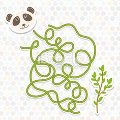 panda labyrinth game for Preschool Children. Vector Royalty Free Stock Vector Art Illustration