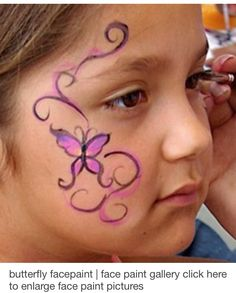 When you think about face painting designs, you probably think about simple kids face painting designs. Many people do not realize that face painting designs go Mime Face Paint, Girl Face Painting, Painting For Kids, Simple Face Painting, Face Paintings, Tinta Facial, Easy Face Painting Designs, Easter Face Paint, Butterfly Face Paint
