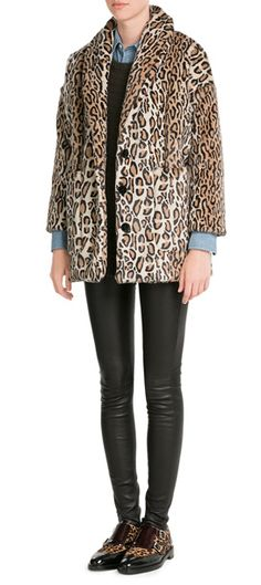 A+leopard+printed+coat+is+a+cool+way+of+incorporating+character+into+your+wardrobe,+and+this+faux+fur+jacket+from+The+Kooples+makes+it+super+easy.+The+cropped+sleeves+lend+a+contemporary+edge+#Stylebop