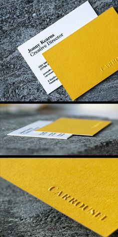 Embossed Business Cards. Those beauties were printed recently for Carrousel Agency. Blind embossing + black matte foil blocking. Colorplan Citrine duplexed with Munken Kristall So happy with the result