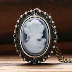 relojes Bronce dama blanca <font><b>belleza</b></font> de cuarzo reloj de bolsillo colgante collares mujer la muchacha P62
