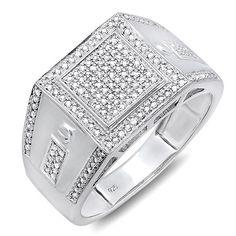 Sterling Silver 2/5ct TDW Diamond Men's Bling Ring
