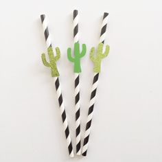 This listing includes one dozen (12) cacti paper straws. It will include six glitter cacti and 6 green card stock cacti. Need a banner of other coordinating items?! Youre in luck! Check out our other listings or send us a message for a customer order!  Cactus Party Set!  https://www.etsy.com/listing/452618614/cactus-party-set-cactus-party-desert?ref=related-0  Our current turnaround time is 1-2 business days before your order ships. All orders will be shipped USPS and can take anywhere from…