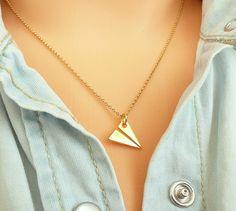 Bisutería dorada - Collar de oro de avión plateado, plata 925 - hecho a mano por Mona-Design en DaWanda #DaWanda #Bisutería #Joyería #anillos #Collares #Pulseras #Broches #Jewelry #DIY #Diseño #Hechoamano