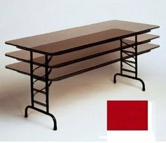 75 Inch High Pressure Top Folding Tables Adjule Height White 36 In X 96