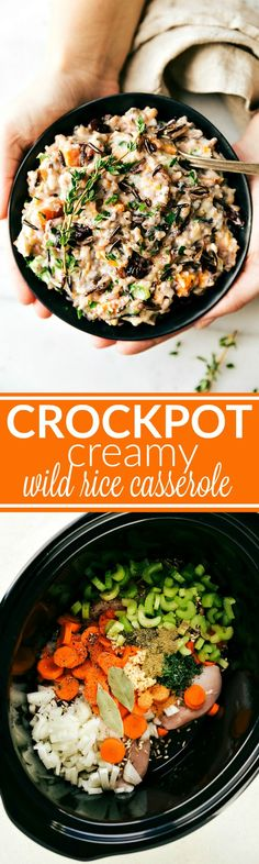 Crockpot WILD RICE CASSEROLE -- easy, delicious, and made simple using the slow cooker. Hearty, healthy meal the whole family will love. Recipe via chelseasmessyapron.com