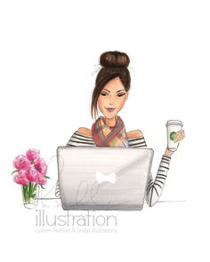 The Daily Hustle (Print) Art And Illustration, Fashion Sketches, Art Sketches, Social Media Art, Book Girl, Coffee Art, Fashion Art, Artist Fashion, Watercolor Art