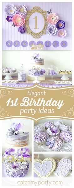 Fall in love with this elegant Spring Bloom Birthday party! The cakes are am. Fall in love with this elegant Spring Bloom Birthday party! The cakes are amazing! Lila Party, Sofia The First Birthday Party, Fall Birthday Parties, 1st Birthday Party Themes, 1st Birthday Decorations, Elegant Birthday Party, Gold Birthday Party, Baby Girl Birthday, Spring Birthday Party Ideas