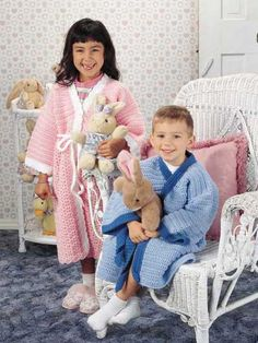 Children's Bathrobes - These cute bathrobes are easy to make and wear! Skill level: Intermediate  Designed by Sharon Volkman  free pdf from freepatterns.com