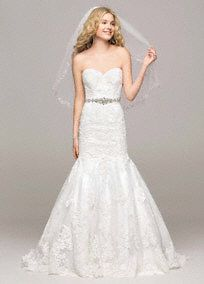 David's Bridal Collection Sweetheart Trumpet Wedding Gown with Beaded Sash, Style V3680 #davidsbridal #laceweddingdress
