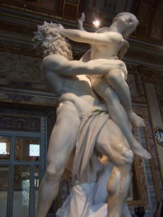 His sculptures almost begin to move. Bernini's The Rape of Proserpina at Galleria Borghese, Rome.