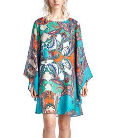 Teal Paisley Bell-Sleeve Dress #zulily #zulilyfinds