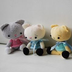 Amigurumi Pattern  Spanky the Cat by pepika on Etsy, $5.00 - I love their sad little faces.  They look like they lost their mittens!