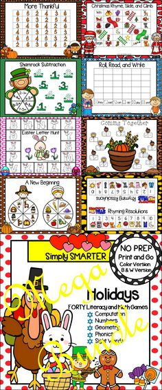 Are you looking for NO PREP literacy and math games for preschool, kindergarten, or first grade? Then enjoy this phonics and math resource which is comprised of FORTY different HOLIDAY themed games complete with a color version and black and white version of each game.  The games can be used for small group work, partner collaboration, or homework!  ALL YOU NEED TO DO IS DOWNLOAD THE GAMES AND PROVIDE MATERIALS SUCH AS DICE, CLIP, PENCIL, AND GAME MARKERS. Literacy Games, Literacy Stations, Preschool Kindergarten, Math Games, Preschool Activities, Educational Board Games, Teaching Resources, Teaching Ideas, Different Holidays