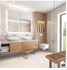white tile in guest bathrooms upstairs H- white sinks sunk in to counter. BE… white tile in guest bathrooms upstairs H- white sinks sunk in to counter. Wood Bathroom, Bathroom Renos, White Bathroom, Modern Bathroom, Master Bathroom, Bathroom Cabinets, Bathroom Storage, Bathroom Ideas, Bathroom Spa