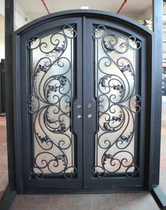 Exterior Wrought Iron Entry Front Doors Square Top Double X X X X X X Dream