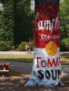 Creative artists converted the Painted Tree into a Campbell's Soup can  over the summer, which inspired the college to attract donations for a  local food pantry