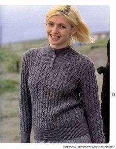 Спицы.Серый пуловер на пуговицах. Обсуждение на LiveInternet - Российский Сервис Онлайн-Дневников
