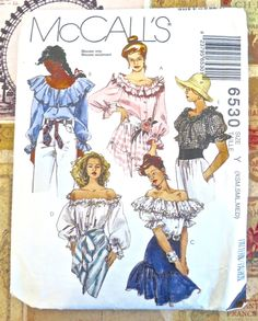 Vintage Womens Peasant Blouse Pattern - McCalls 6530 by Fragolina on Etsy Vintage Dress Patterns, Blouse Patterns, Clothing Patterns, Retro Fashion, Vintage Fashion, Vintage Denim, Mccalls Sewing Patterns, Peasant Blouse, Top Pattern