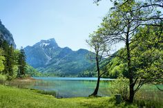 Clear mountain lake on a May day at Eisenerz, Austria