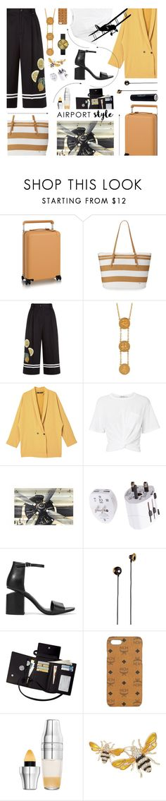 """""""She's A Busy Little Bee, Constantly Flying Across Land And Sea"""" by sharee64 ❤ liked on Polyvore featuring Cappelli Straworld, Dolce&Gabbana, Liwu Jewellery, MANGO, T By Alexander Wang, Eagle Creek, Alexander Wang, Merkury, Royce Leather and MCM"""