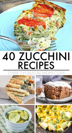 40 of the Best Zucchini Recipes- Not sure how to use up all your zucchini? Give these ideas a try! Lots of dinner, side dish, and dessert recipes that are perfect for summer or really anytime that you feel in the mood for zucchini. I love this healthy, versatile vegetable! #thrifyfrugalmom #zucchini #zucchinirecipes #summerrecipes #healthy Vegetarian Zucchini Recipes, Zuchinni Recipes, Healthy Dessert Recipes, Dinner Recipes, Zucchini Bread, Desserts, Vegetarian Meals, Frugal Meals, Budget Meals