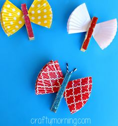 Nothing says springtime like butterflies, and these are The Easiest Butterfly Crafts you'll ever make! Cupcake liner crafts are super cute and incredibly easy. K Crafts, Cute Crafts, Preschool Crafts, Arts And Crafts, Paper Crafts, Clothespin Crafts, Daycare Crafts, Garden Crafts, Spring Crafts For Kids